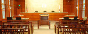 Post COVID-19 Changes in the Practice of Law - Video Conference Hearing - Empty court room